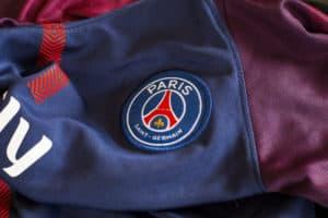 ZAGREB, CROATIA - NOVEMBER 08, 2017. - French football club Paris Saint-Germain emblem on jersey. Source: shutterstock.com