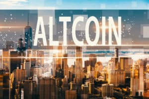 Altcoin with aerial view of Manhattan, NY skyline