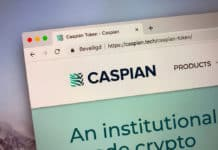 Amsterdam, the Netherlands - September 24, 2018 Website of Caspian, an cryptocurrency trading platform.