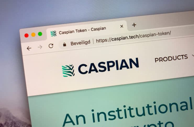 Amsterdam, the Netherlands - September 24, 2018 Website of Caspian, an cryptocurrency trading platform.