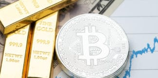 Commodity and alternative asset, gold bar and crypto currency Bitcoin on rising price graph as financial crisis or war safe haven, investment asset or wealth concept. Source; shutterstock.com