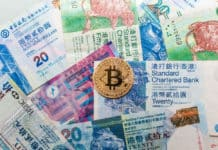Gold Bitcoin with actual Hong Kong Dollar currency banknote indicating dangerous of cryptocurrency. Source: shutterstock.com