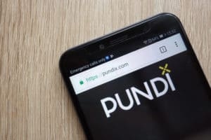 KONSKIE, POLAND - JULY 08, 2018 Pundi X (NPXS) cryptocurrency website displayed on Huawei Y6 2018 smartphone. Source: shutterstock.com