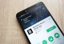 KONSKIE, POLAND - JUNE 17, 2018 Blockfolio Bitcoin Altcoin App on Google Play Store website displayed on Huawei Y6 2018 smartphone. Source: shutterstock.com