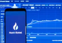 KYRENIA, CYPRUS - SEPTEMBER 2, 2018 Huobi Global application running on smartphone. Huobi Global is one of the largest cryptocurrency exchange by daily trading volume.