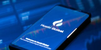 KYRENIA, CYPRUS - SEPTEMBER 21, 2018 Huobi Global mobile app running on smartphone. Huobi - one of the largest cryptocurrency exchange on the market.