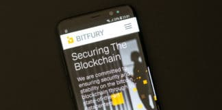 KYRENIA, CYPRUS - SEPTEMBER 8. 2018 Bitfury website on the smartphone display. Bitfury is a blockchain company, the large industrial miner, developer of software and hardware for Bitcoin blockchain