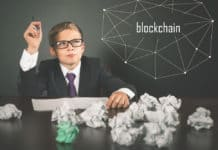 Successfully boy earning money with Blockchain technology. Future for children. Uses laptop. Bitcoin cryptocurrency, bitcoin cash, litecoin, dash, IOTA, ethereum, smart contracts.