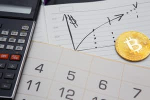 golden bitcoin, calculator, rising graph in diary and month calendar. Learning to invest in crypto currency, income, high efficiency, return on capital, profitability. Source: shutterstock.com