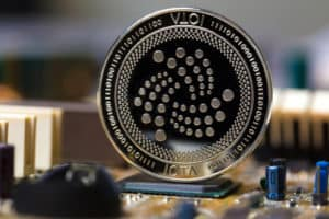 iota coin on a mainboard