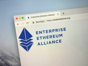 Amsterdam, Netherlands - October 1, 2018 Website of The Enterprise Ethereum Alliance or EEA, a platform connecting Fortune 500 enterprises and startups with the Ethereum blockchain project.