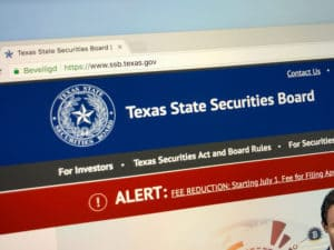 Amsterdam, the Netherlands - July 13, 2018 Website of The Texas State Securities Board, a Texas state agency with a mission to protect Texas investors.