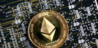 Ethereum ETH gold coin representing cryptocurrencies, against a computer circuit background.
