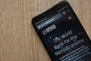 KONSKIE, POLAND - JULY 14, 2018 BABB (BAX) cryptocurrency website displayed on a modern smartphone