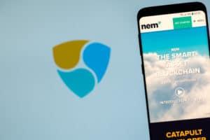 KYRENIA, CYPRUS - NOVEMBER 14, 2018 NEM ( XEM ) cryptocurrency website displayed on the smartphone screen.