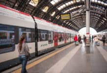MILAN, ITALY - MAR 29, 2014 Train of the Swiss railway company Swiss Federal Railways (SBB) in the Milano Centrale - The main railway stration of Milan, Italy. It was opened on July 1, 1931.