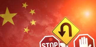 Road stop signs on a background of China flag