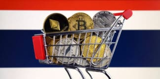 Shopping Trolley full of physical version of Cryptocurrencies (Bitcoin, Litecoin, Dash, Ethereum) and Thailand Flag.