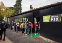 TuscanyItaly - 11-03-2018 Nvidia stand at Lucca Comics & Games festival (the largest comic book and gaming convention in Europe)