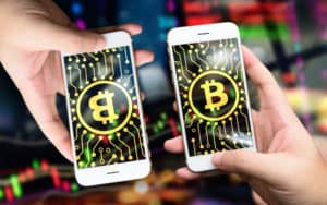 Distributed ledger technology , Man holding mobile phone, bitcoin icon , block chain with graph of stock market background , cryptocurrencies or bitcoin concept - Image