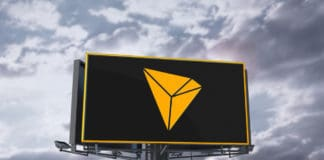 Golden Tron Coin Logo On Billboard And Sky Background. 3D Illustration Of Golden Tron Coin Logo. 3D Rendering. - Illustration
