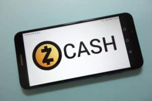 KONSKIE, POLAND - November 17, 2018 Zcash (ZEC) cryptocurrency logo displayed on smartphone
