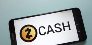 KONSKIE, POLAND - November 17, 2018 Zcash (ZEC) cryptocurrency logo displayed on smartphone