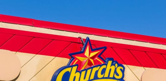 MONROVIA, CAUSA - NOVEMBER 22, 2015 24 Church's Chicken exterior and logo. 2Church's Chicken is a chain of fast food restaurants specializing in fried chicken. - Image
