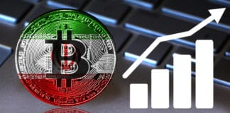 Bitcoin close-up on the keyboard background, the Iran flag is shown on the bitcoin. - Image
