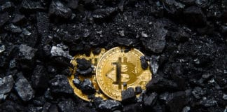 Bitcoin is a gold coin. The concept of crypto currency. Virtual currency background. coal mining, mining. - Image