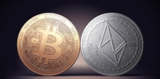 Clash of Bitcoin and Ethereum coins on a gently lit dark background. Competing cryptocurrencies concept. - Illustration