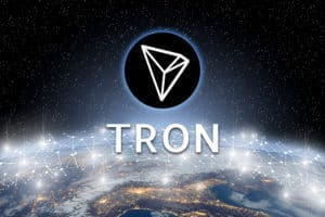 Concept of TRON coin floating over world network, a Cryptocurrency blockchain platform , Digital money - Image