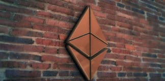 Golden Ethereum Coin Symbol 3D Illustration of Stone Wall Background. Golden Ethereum Coin Logo. Ethereum Coin Sign. 3D Rendering. - Illustration