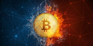 Golden bitcoin coin in fire flame, water splashes and lightning. Bitcoin Gold blockchain hard fork concept. Cryptocurrency symbol in storm illustration with peer to peer network background. - Illustration