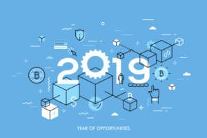 Infographic concept, 2019 - year of opportunities. New trends, plans and perspectives in blockchain technologies, crypto currencies mining, digital assets. Vector illustration in thin line style. - Vector