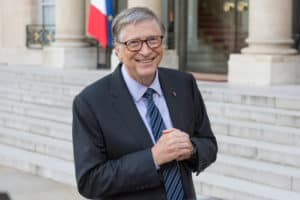 PARIS, FRANCE - APRIL 16, 2018 Bill Gates at the Elysee Palace to encounter the french president to speak about Bill & Melinda Gates Foundation (BMGF). - Image