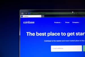 Tula, Russia - August 28, 2018 CoinBase website on the display of PC, url - CoinBase.com. - Image