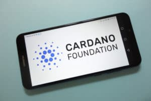 KONSKIE, POLAND - November 17, 2018: Cardano Foundation cryptocurrency logo displayed on smartphone - Image