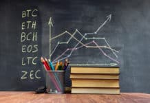 A table with books on the background of graphs on a chalkboard. Learning crypto currency in school. Concept, a new educational subject for children. - Image