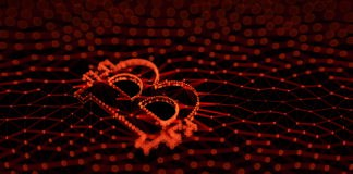 Abstract Red Bitcoin Sign Built as an Array of Transactions in Blockchain Conceptual 3d Illustration Background - Illustration