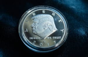 August 17, 2018 Washington, USA. Silver souvenir coin with the image of 45 US President Donald Trump. - Image