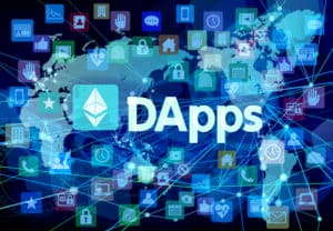 DApps and digital network background - Vector