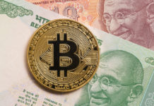 Golden bitcoin and indian rupee money - ImageGolden bitcoin and indian rupee money - Image