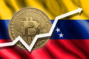 Growth chart. White arrow and bitcoin on the background of the flag of Venezuela. - Image