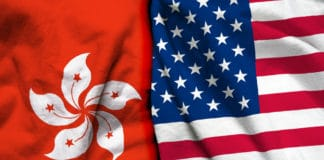 Hong Kong and USA flag on cloth texture - Image