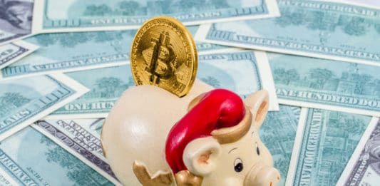 Piggy with santa hat on dollar bills background and bitcoin in it. Concept of saving bitcoin in 2019. piggy as symbol of upcoming new year. - Image