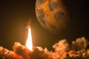 Rocket launch to moon as a Bitcoin price increase concept. The elements of this image furnished by NASA - Image