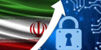 The flag of Iran together with the blue cryptogram and the up arrow with the lock. This concept shows the increased level of security of the crypto currency and blockchain wallets. - Image