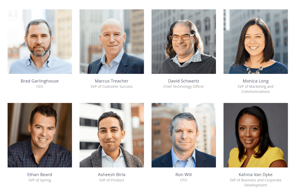 The leadership team of Ripple from ripple.com