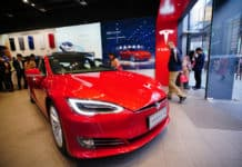 Chengdu, Sichuan China - March 02 2019 Tesla car model showroom located in the largest shopping mall in Chengdu. Tesla has become the most popular car brand in China amid US China trade war. - Image